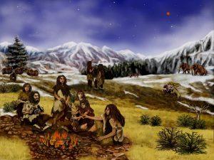 Neanderthals roasting wild onions.