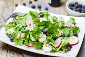 Raw radishes in a salad.
