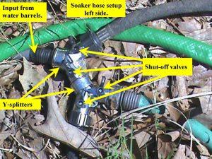 Jim's garden soaker hose setup.