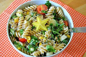 Garlic pasta salad.
