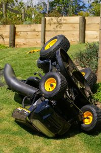Broken lawn mower.