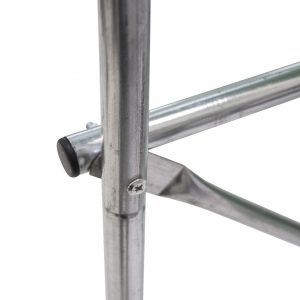 Silver powder coated tube frame.