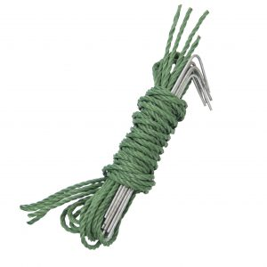 Rope and stakes are included.