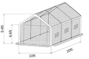 The Abba Greenhouse APGH1020W diagram.
