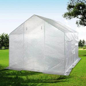 Use cement blocks on greenhouse cover flaps.