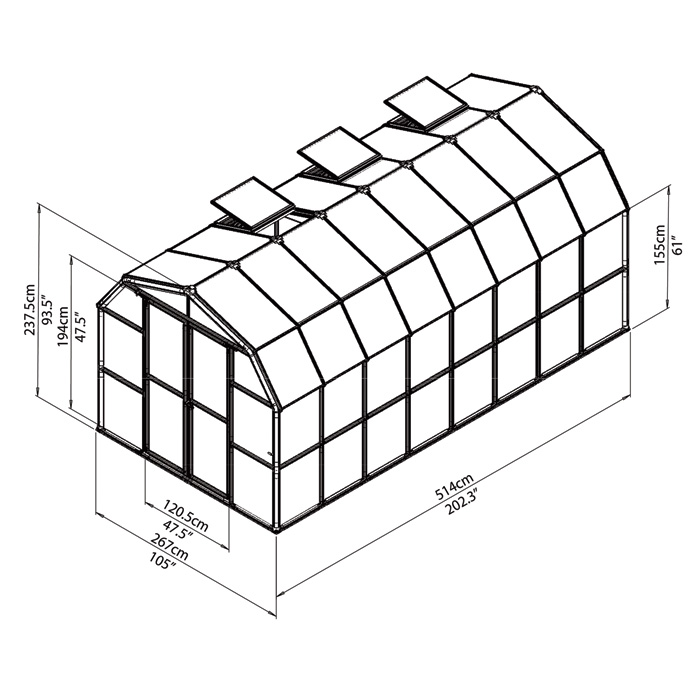 Rion Greenhouse HG7216C dimensions.