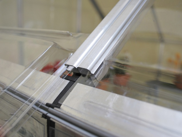 Palram's polycarbonate panels just slide into place.