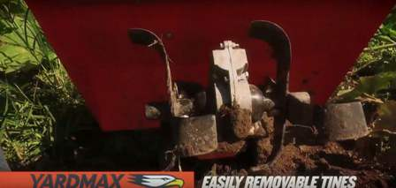 YARDMAX YT5328 easily removable tines.