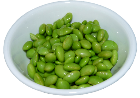 Soybeans from edamame pods.