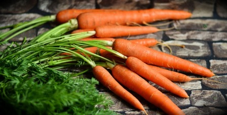 The root vegetable group includes carrots.