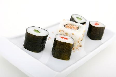 Seaweed wrapped sushi.