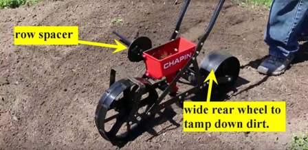 Chapin 8701B Garden Seeder - row spacer and wide rear wheel