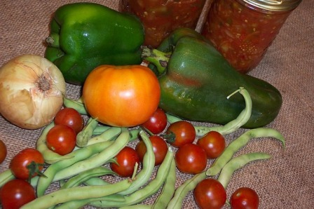 Preserving our garden veggies.