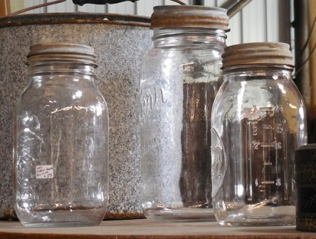 Canning jars with old, unsealed lids.