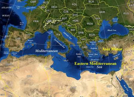 Map of the Eastern Meditteranean Sea