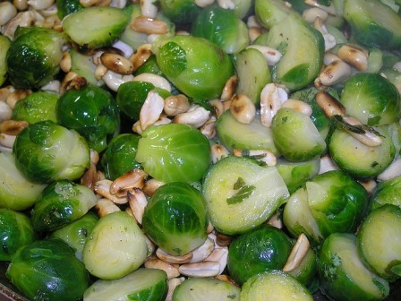 Sautéed Brussels sprouts with nuts.