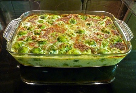 Brussels sprout and cheese casserole.