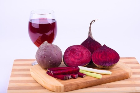 Beet colored wine.