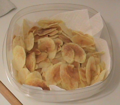 Lightly salted homemade potato chips by Jim, the Lifelong Gardener.