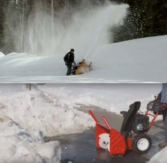 CUB CADET and Troy-Bilt snow blowers moving snow.