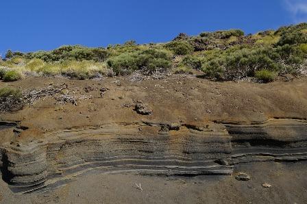 Soil analysis of layered rock stratum.