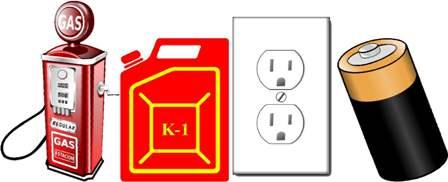 Is the fuel gas, k-1 kerosene, outlet, battery or solar?