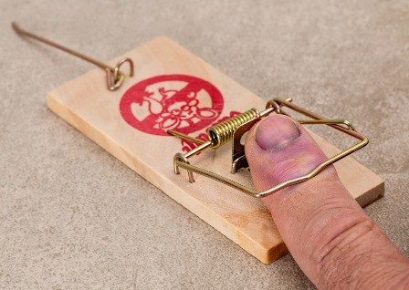Got my finger stuck in a mousetrap.