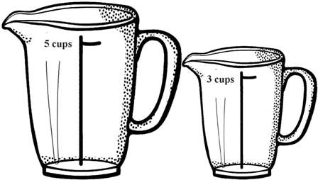 A 5-cup measuring jug and a 3-cup measuring jug is all I have.