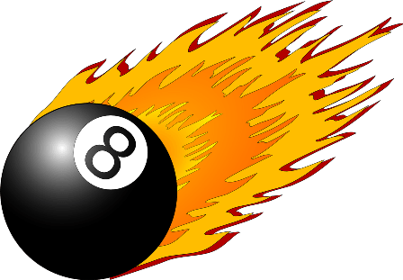Eight ball flying across a pool table.