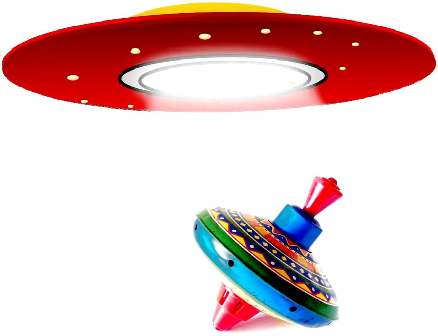 Flying saucer retrieving a child's spinning top.