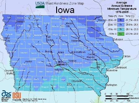 State of Iowa - hardiness zones