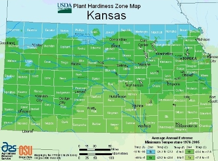 State of Kansas - hardiness zones