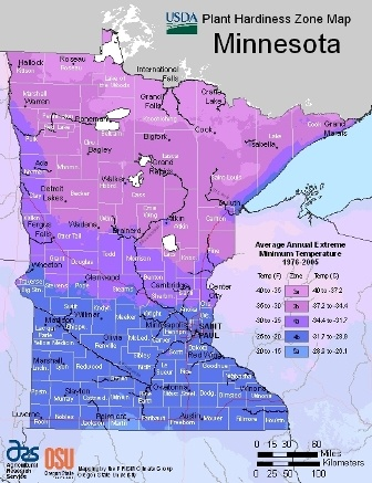 State of Minnesota - hardiness zones