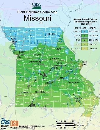 State of Missouri - hardiness zones