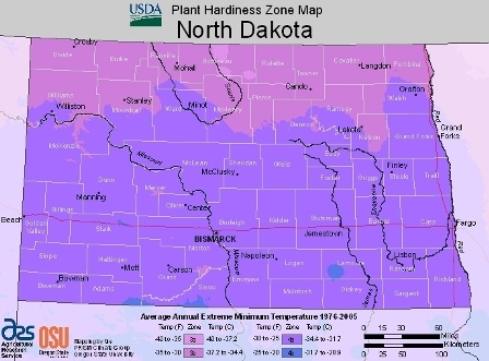 State of North Dakota - hardiness zones