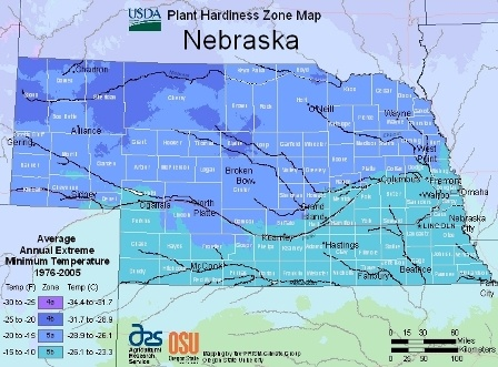 State of Nebraska - hardiness zones