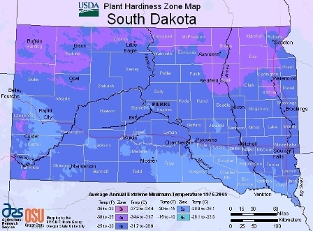 State of South Dakota - hardiness zones