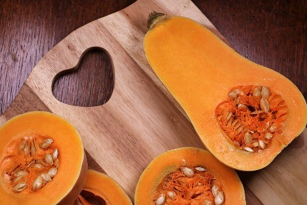 Remove the pulp and seeds from the bottom half of the butternut squash.