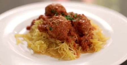 Using spaghetti squash noodles instead of pasta with my homemade spaghetti sauce.