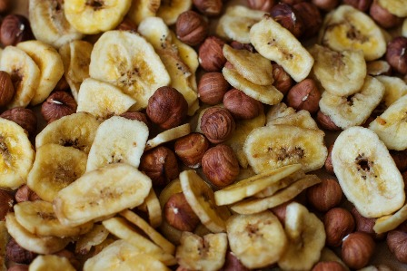 Dehydrated banana chips and nuts.
