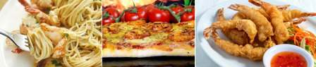 1 - Shrimp spaghetti 2 - Shrimp pizza 3 - Shrimp tempura