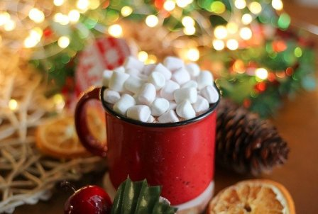 Freeze Dried Marshmallows In Steaming Hot Chocolate.