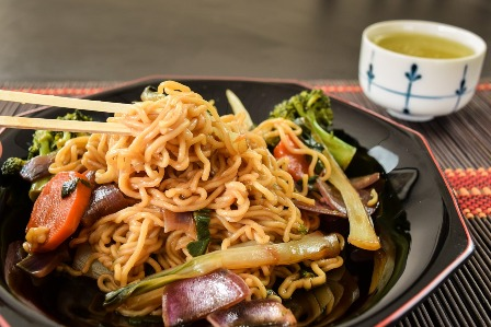 Yakisoba noodles in a stir fry.