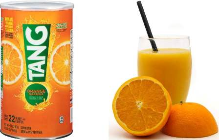reconstituted oranges mixed with orange-flavored Tang